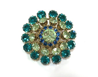 60s Aqua Rhinestone Brooch | Green & Blue Circle Pin