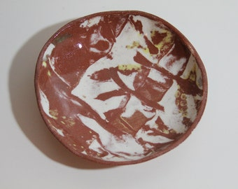 Terracotta ceramic bowl, white and red clay, gift, home decor, kitchen
