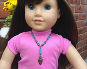 """Antique brass arrow head and turquoise seed pendant with antique bronze chain for American Girl & other 18"""" dolls; gifts under 10"""