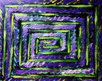 """16"""" x 20"""" artwork """"Eternity is Not Always a Perfect Circle"""" L. Chrystal  Dmitrovic*abstract*art brute*outsider*textured*acrylic str canvas"""