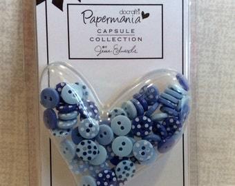 Mini Buttons Mixed Blue Polka Dot