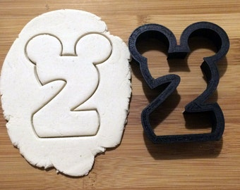 Mickey Mouse Number 2 Cookie Cutter - 3D Printed Plastic - Choose Size