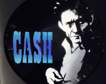 Artistic version of Johnny Cash vinyl record spray paint decoration handmade stencil clock