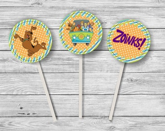 Digital Scooby Doo Zoinks Mystery Machine Cupcake Toppers / Stickers Instant Download