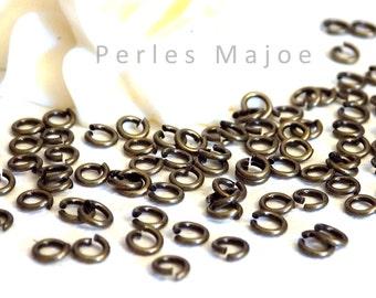 Lot de 100 anneaux de jonction ouverts couleur bronze 4 mm
