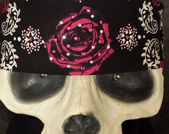 Rose tie-back bandana with swarovski crystals