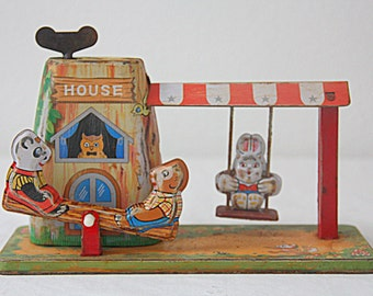 SALE 20% OFF Darling  Vintage Tin Wind-up Toy, Child Toy, Swing and Rocker, Original Box