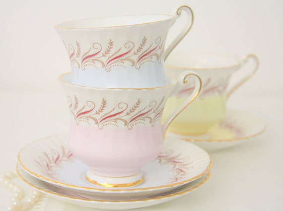 Set of Three Vintage Paragon Bone China Cup and Saucers, Pastel Colors, England, Numbered