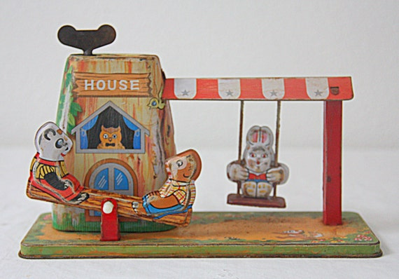 Darling  Vintage Tin Wind-up Toy, Child Toy, Swing and Rocker, Original Box