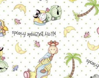 Bazooples Sweet Dreams Zoo Animal Tossed on White Background Fabric by the Half Yard