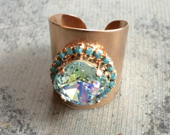 wide swarovski ring