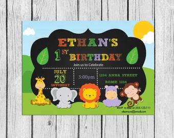 Safari Invitation Printable Birthday, Little Jungle Invitation, Safari Birthday Party,Jungle Invitation, Baby animals Party