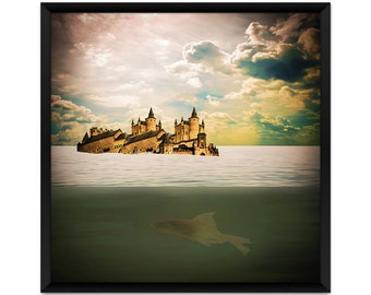Surreal Art Print, Fantasy Art Print, Fairy Tale, Castle Underwater, Surrealism, Castle Art Print