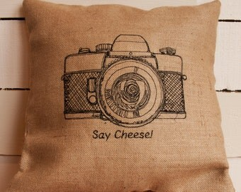 Camera, cushion,  say cheese, photography, photographer, hessian, natural, burlap, embroidered, personalised, unique