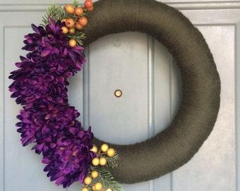 Front Door Wreath - Yarn Wreath - Door Decoration - Door Yarn Wreath - Door Wreaths for Door  -Front Door Decoration - Front Door Decor