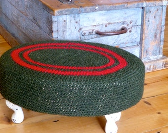 Upcycled Footstool with Crochet Cover