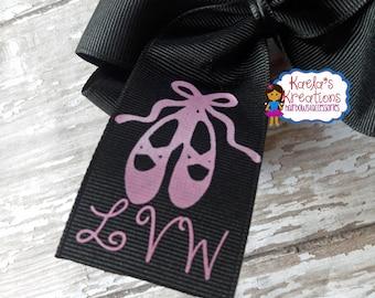 Ballet Hair Bows, Ballet Custom Name Hair Bows,Ballet Initials Hair Bows,Black and Pink Ballet Hair Bows,Ballet Bows,Ballet Name Hair Bows.