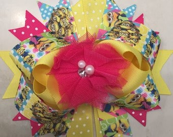 Hot pink Minions hairbow