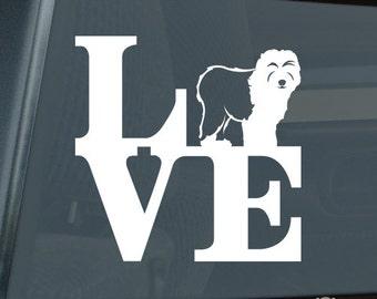Love Old English Sheepdog Die Cut Vinyl Sticker park v2 oes - 1294