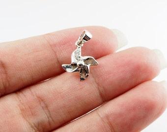 Tiny Pinwheel Pendant Charm, DIY Accessory, 925 Sterling Silver , MI.22
