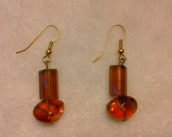 Amber unique beaded earrings