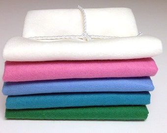 "Five Piece 18"" x 18"" Multi-Color Assortment Wool Blend Felt by National Nonwovens"