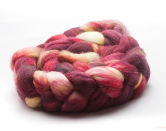"Superwash Merino Roving A Sheep at the Wheel ""Cranberry Tea"""