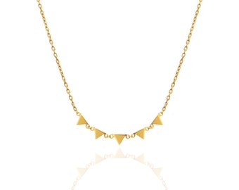 triangles necklace-little triangles necklace-gold triangle necklace- MER GOLD-minimal necklace-minimal jewelry