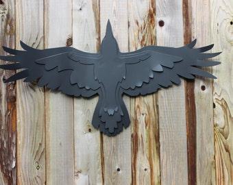 Free Shipping!, Steel Crow Sculpture, Raven Garden Sculpture, Flying Raven, Raven Decoration, Matt Black, Flying Eagle, Soaring Eagle, Raven