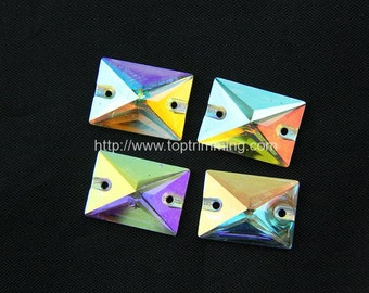 Resin Stone Crystal AB Rectangle Shape Selling Per Bag