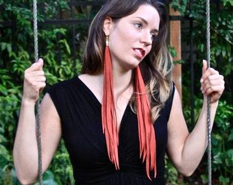 """Red Leather Fringe Earrings 15"""" -Leather Earrings -Leather Jewelry -Tassel Earrings -Festival Accessories -Boho Accessories -Bohemian"""