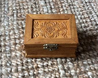 Hand Made Wood Trinket Treasure Jewelry Box- Keepsake Box
