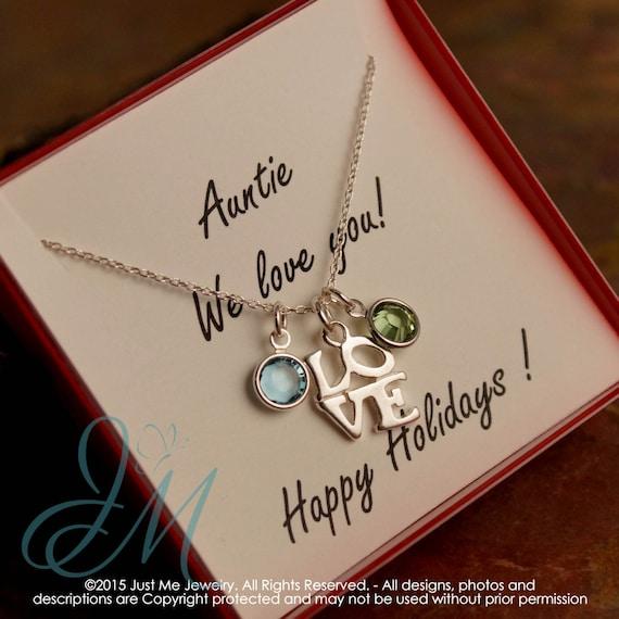 Auntie Necklace - Gift Idea for Auntie - Sterling Silver Birhtstone neckalce - Auntie we love you  (two kids)
