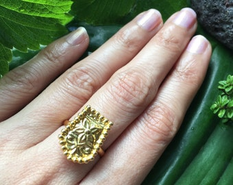 Indian Brass flower ring | Pretty Boho Festival Polished brass ring | Gold Adjustable Floral ring | Embossed flower pattern ring