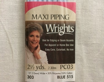 """Vintage New Light Blue Corded Maxi Piping Trim in Package 1/2"""" (13 mm) wide x 2-1/2 yards long by Wrights"""