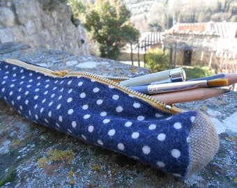 Navy Blue/White Polkadot and Canvas Accented, Hand-Sewn Pencil-Case