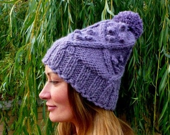 Diamond Cabled Hat with Bobbles - Knitting Pattern