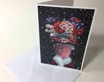 "Greeting card ""Flower hat"""