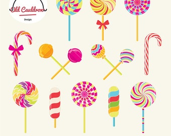 Lollipops clipart, candy vector clipart, sweets clipart, birthday clipart, sweetness, christmas clipart, christmas gift CL008