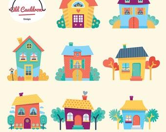 Houses clipart commercial use, garden houses clip art, scrapbooking, vector clipart, vector graphics CL051