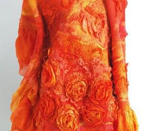 Sunny Orange Yellow Red Shawl. Fashion merino wool nuno felted shawl wrap. OOAK. Vintage Warm Wool silk stole. Gift for her
