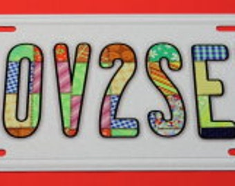 License Plate  Aluminum - Love 2 Sew