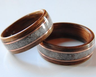 Bentwood Ring Wedding Set, Walnut and Deer Antler with Copper,Wooden Wedding Band, Anniversary