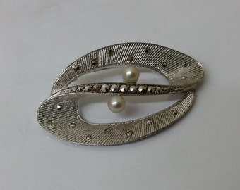 Silver brooch 800 beads & Markasiten antique vintage SB227
