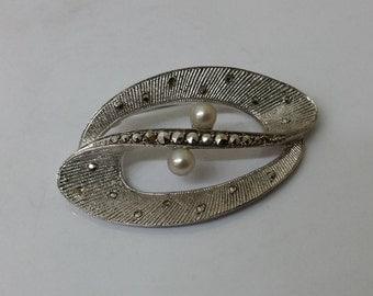 Silver brooch 800 beads & Markasiten antique vintage SB227