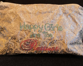 Makeup bag with pockets 'Happy girls are the prettiest'