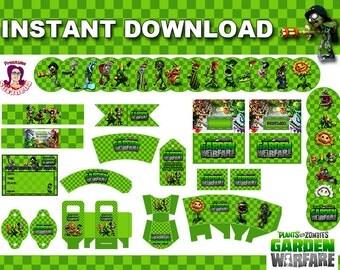 GARDEN WARFARE Party Kit Printable in English. Instant download! Garden Warfare Birthday Decoration,  Plants vs Zombies Birthday Banner