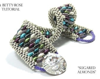 """Tutorial for Double Kumihimo Bracelet """"Sugared Almonds"""" with Superduo and Rulla beads Instant Download PDF Beading Pattern"""