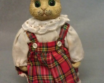 Beige Cat with Plaid Clothes Figurine