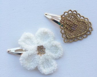 """The """"Juliet"""" set of love heart and flower hair clips"""